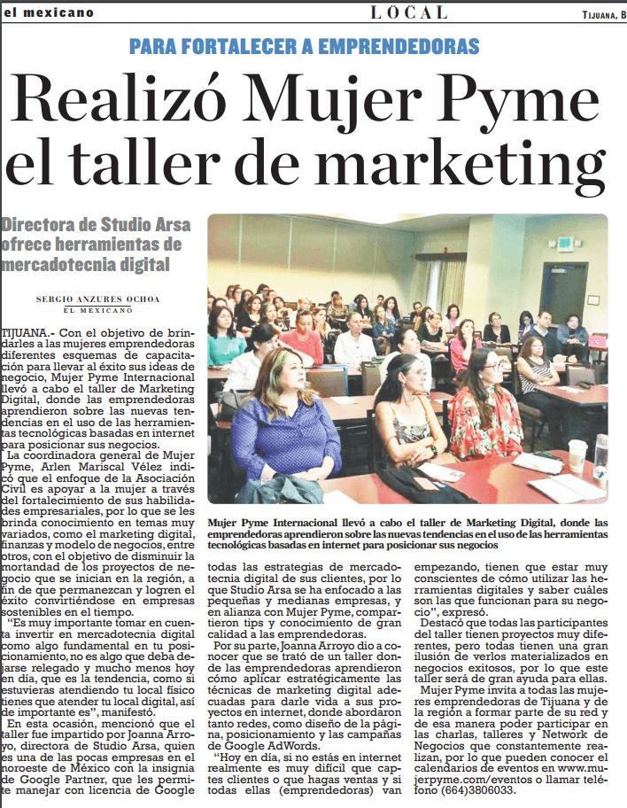 Nota de Periódico El Mexicano de Curso de Marketing Digital por invitación de Mujer PYME